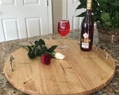Serving Trays, Personalized Serving Tray, Wood Lazy Susan, Wood Tray, Wood Serving Tray with Handles, Lazy Susan Turntable, Wedding Gift