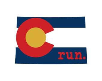 Run CO Flag State Outline Magnet