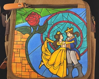 Hand Painted Beauty and the Beast Purse