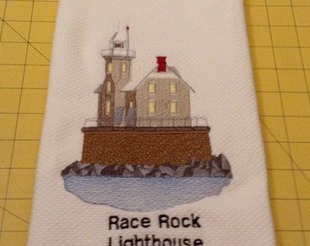 Race Rock Lighthouse, Fishers Island, New York. Embroidered Williams Sonoma White Kitchen Hand Towel made in Turkey and Xlarge.