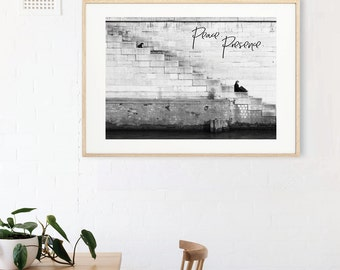PEACE AND PRESENCE black and white photography typography wall art print