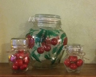 Country cherry jar canister set of 3 kitchen