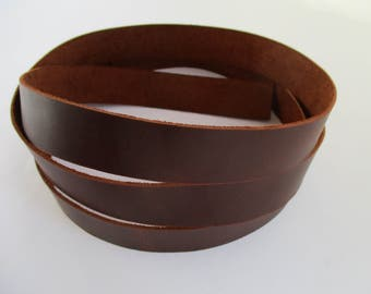 "1.5mm. / 3.5-4oz Сhestnut Geniune Leather Strip Strap Band for Leathercraft. 59"" or 150cm. (Various width)"