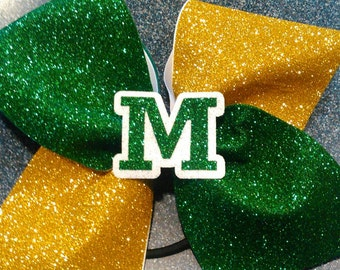 Green and gold cheer bow