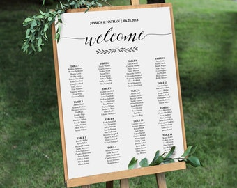 Wedding Seating Chart Sign, Printable Seating Chart Poster, Rustic Seating Plan, Editable Template, Instant Download, PDF #024-211SC