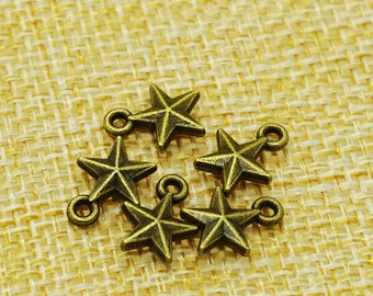 Star Charms -50 pieces Antique Bronze Empty Stars Charm Pendants 8mm x 10 mm (501-13-B)