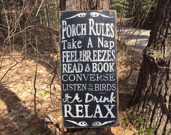 Porch Rules / porch decor / deck rules / porch sign / outdoor sign