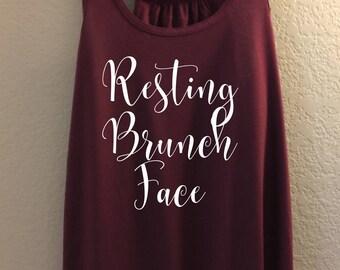 Resting Brunch Face - Bella Flowy Racerback Tank, Brunch Tank, Brunch Shirt, Resting Brunch Shirt, Resting brunch fact, Mimosa tank, mimosa