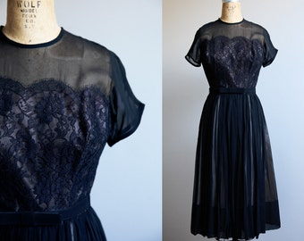 Small 1960s Black Party Dress with Lace Details Size Small
