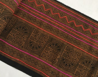 Sale!!1.8 Metres Hmong cotton,vintage Batik fabric textiles,table runner,fabric textiles decorated embroidery Hmong hill tribe From Thailand