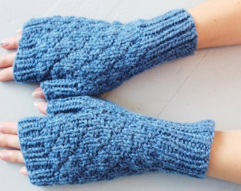Blue Wool Fingerless Gloves, Long Wool Gloves, Winter Gloves Gift, Arm Warmers, Wrist Warmers, Winter Knit Mittens,