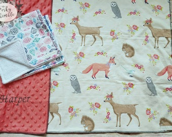 Embroidered baby gift, Girl deer blanket, Minky baby blanket, personalized baby, Girl burp cloth set, Woodlands crib bedding, Fox blanket