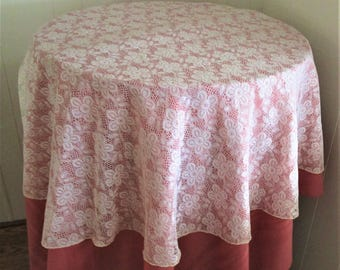 SALE: Vintage Lace Tablecloth Overlay Off White Flower Repeat Pattern, Shabby Chic Lace Tablecloth, Vintage Lace Linens, Lace Tablecloth