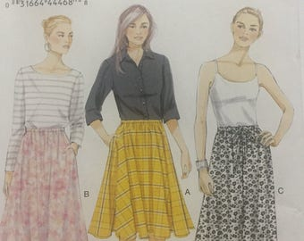 Vogue V8818 Very Easy Misses Skirt Sewing Pattern, Size XS-SM-M, Mid Knee & Ankle Length
