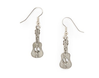 Nashville guitar earrings silver pewter USA-made lead-free surgical steel