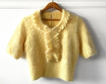 Vintage, 1950's, Home-made, Handmade, Mohair Type, Canary Yellow, Crochet, Knit, Crop, Short Sleeve, Pullover, Sweater, Top