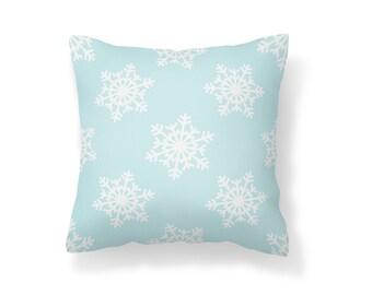 Throw Pillow Snowflake, Decroative Pillow, Snowflakes, Blue Snowflake