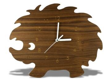 Animal Modern Wooden Hedgehog Kid Wall Clock