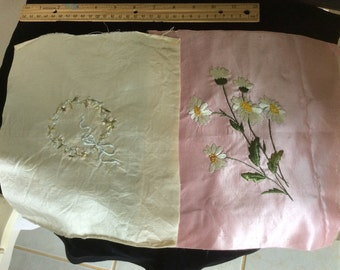 Antique Silk Hand Embroidery on Silk, 2 Remnants