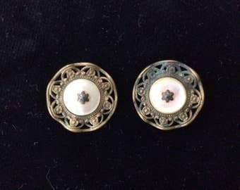 Antique Victorian Matching Buttons, Open Work, Brass, M.O.P., Shank Back