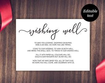 Wishing Well Card, Wedding Wishing Well, Wishing Well Printable, Wedding Insert, Wish Well, PDF Instant Download, DIY Editable Template