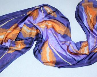 Scarf silk hand painted. Foulard long purple and orange... Gift birthday. Shawl stylish and luxurious. Handmade. Gift for wedding.