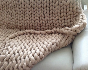 HAND KNITTED 100% MERINO Wool Blanket Chunky Blanket cozy wool Blanket