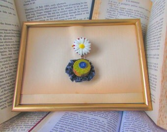 Hippie Chic, Upcycle Jewelry, Boho Chic, Vintage Brooch, Creative Gift, Polymer Clay Jewelry, Gift for her, Bohemian Brooch, Bespoke