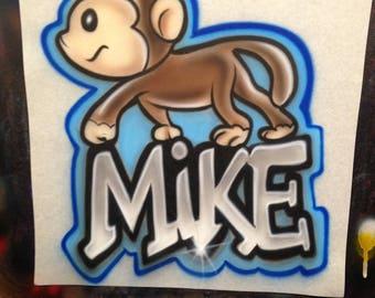 Airbrush T shirt Monkey design with name