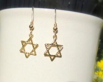 Star of David Earrings, Magen David Jewelry, Jewish Star Set, Gold Filled Star of David Jewelry, Sterling Silver Star of David Earrings.
