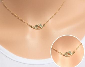 Gold Love Birds Necklace, Bird Charms, Gold Bird Necklace, Branch Necklace, Love birds on Branch Necklace, kissing Birds Necklace, Love.