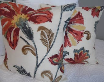 Floral.Pillow Covers. 18x18. Slip Covers.Pillow Case.Home Decor.Country Living.Russets.Greens.Creams.Browns.Yellow Golds.Covers.Decor Fabric