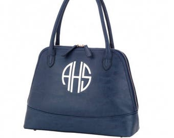 Monogrammed Sydney Purse - Doctor Bag - Navy