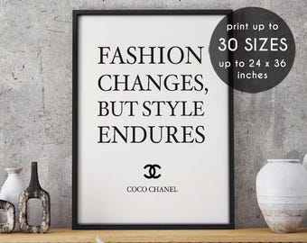 Chanel poster, Fashion changes, but style endures, fashion poster, coco chanel quote, fashion, chanel print, coco chanel, fashion print, 40