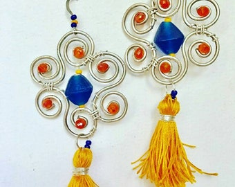 Colorful boho beach flower  earrings with blue and orange beads and yellow tassel perfect for the summer and festivals  free shipping !!