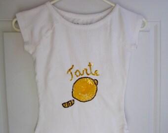 White Short Sleeve T-shirt by 52 Weekends, Tarte Lemon Logo, Size Small