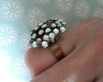 Medieval antiquarian big ring. vintage USSR.Jewelry metal with glass bijouterie