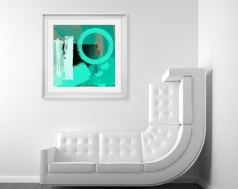 Modern Green Abstract Art Print - Large Art For Home Decor, Digital Art, Giclee Print