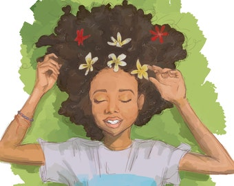 Skai Jackson, Disney, Wall Art, Art Print, Digital Art, Cute Art, Black Girl Art, Black Girl Magic, Flowers, Nature, Nature Art, Kawaii