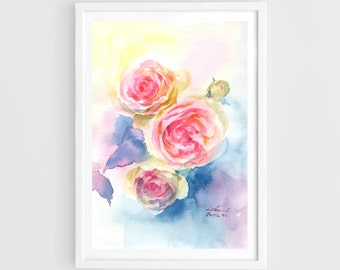 "Original watercolor,sweet flowers,flower garden,original painting,7.5""x10.5"",home decor"