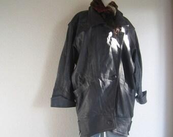 Vintage of 80s leather jacket leather jacket over size M/L
