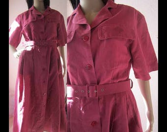 Vintage 80s linen dress dress Vittoria Verani dress 38