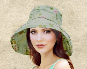 Sun boho hats, Womens cotton hat, Bohemian sun hat, Green sun hat women, Women's summer hats, Wide brim sun hat, Brimmed hat lady, Beach hat
