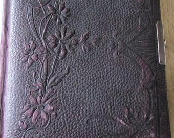 Antique French tooled leather Art Nouveu photograph album+23 Sepia cabinet photos c1890