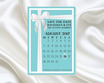 Save the Date cards | Hand finished | Personalised | Tiffany blue style with gemstone detail | With Envelopes