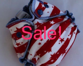 Newborn Cloth Fitted Diaper, Stars & Stripes Patriotic - Cloth Baby Diaper with Knit Outer, Velour Inner and Bamboo Fleece Core
