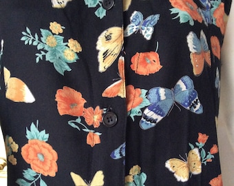 SALE// Vintage,butterflies,dress,knee-length,floral,black,size L,