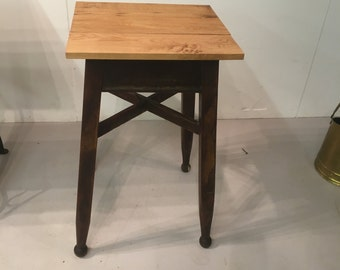 Vintage Side Table / Pub Table With Waxed Hardwood Top And Ball Feet