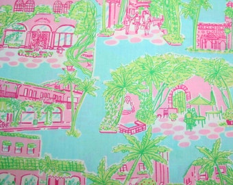 "RARE** 18""x18"" PALM BEACH Toile Lilly Pulitzer Fabric"