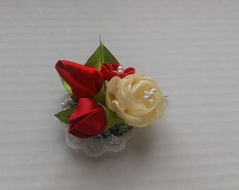 PIN red flower and ivory/pin fabric lace pin satin/Kanzashi/jewel/woman/Ribbon satin
